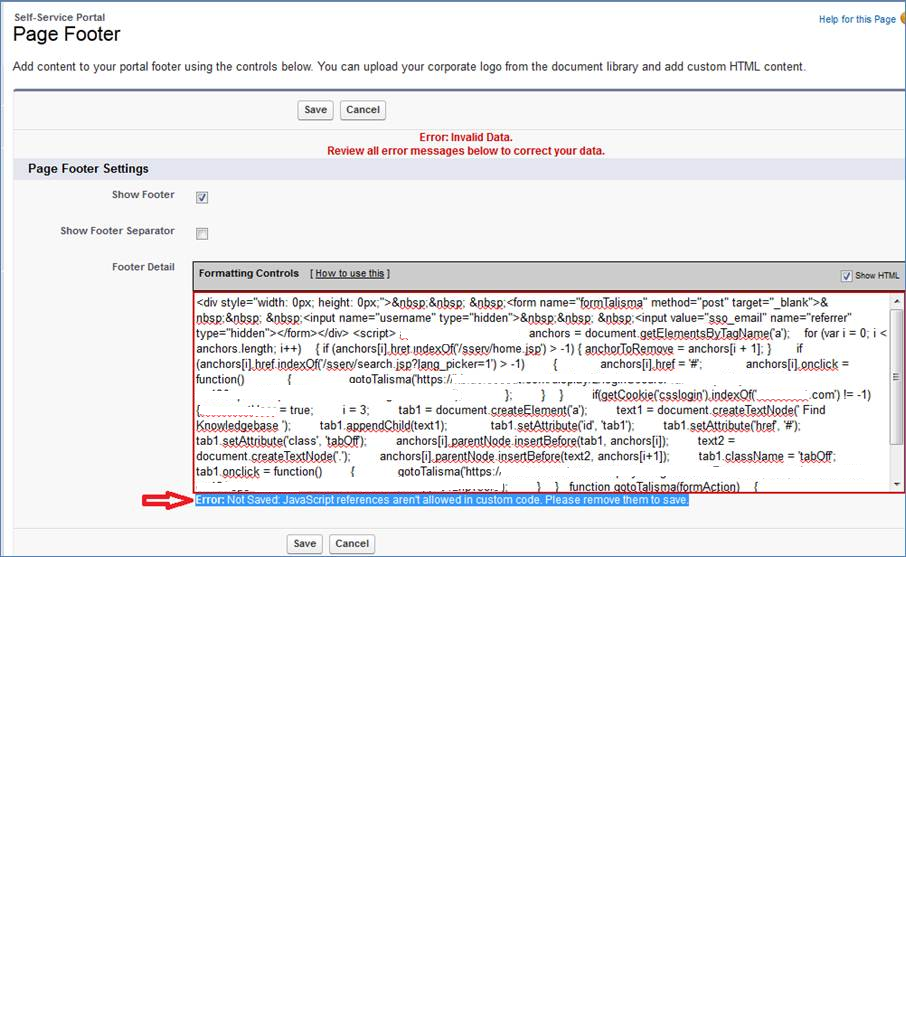 Self Servcie Portal - Javascript code is not allowed in page